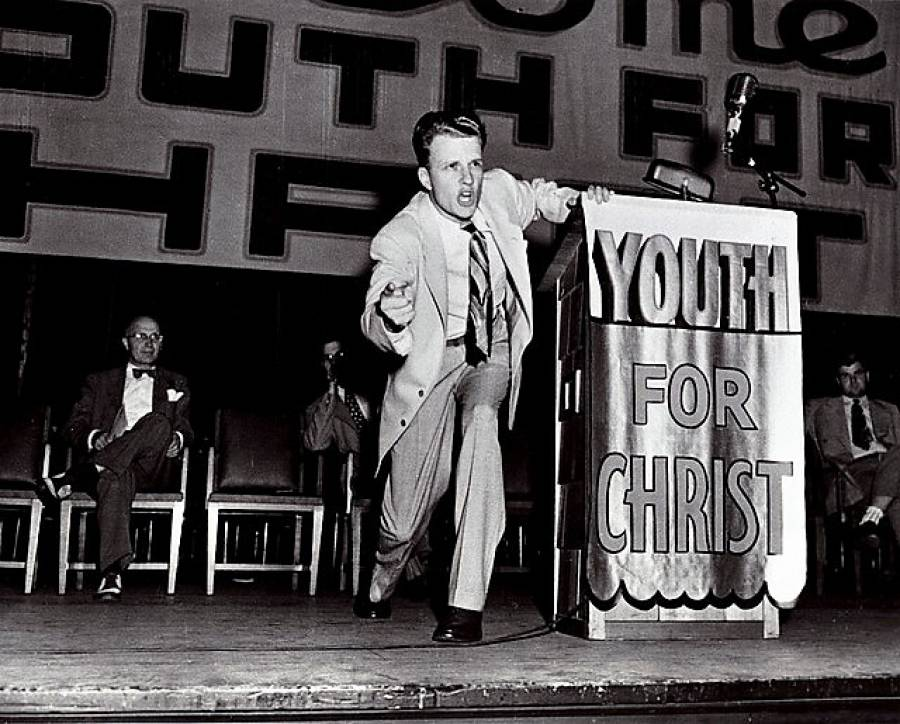 As Youth For Christ's first field representative, Graham's salary in 1944 was $75/week, plus expenses. In his first year with the organization, he traveled 200,000 miles, speaking in 47 American states.